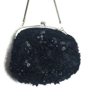 Kate Landry black sequins evening bag purse